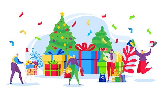Insegna dei regali di vendita di compera di natale, gente felice e acquisto di inverno con gli sconti