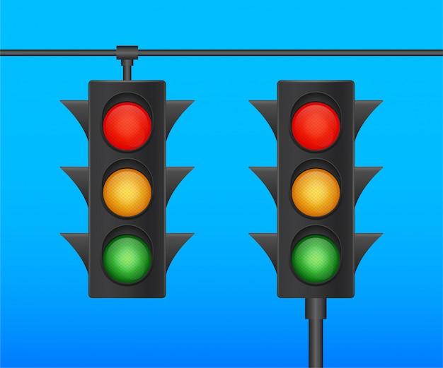 Insegna dei semafori su fondo blu. illustrazione di riserva.