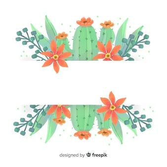 Insegna del cactus dell'acquerello con la bandiera in bianco