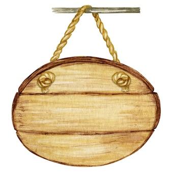 Insegna del cerchio di legno dell'acquerello, spazio in bianco vuoto isolato.