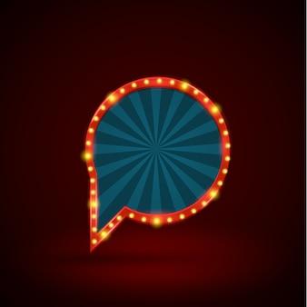 Insegna del cerchio luce retrò astratta