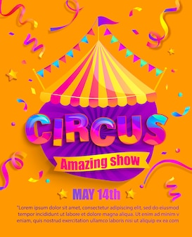 Insegna del circo con la retro struttura delle lampadine manifesto o aletta di filatoio di fiera di divertimento dell'annata con la tenda, bandiere, stelle, ghirlande.