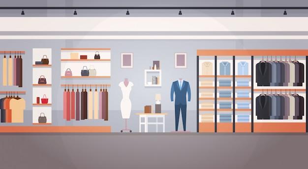 Insegna del deposito dei vestiti dell'interno del negozio di modo con lo spazio della copia