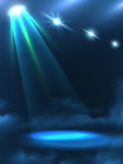 Insegna del fondo del fascio della luce verde blu