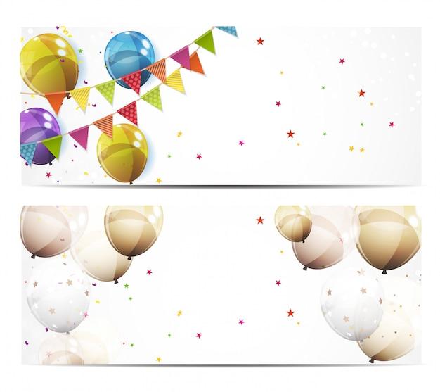 Insegna del fondo del partito con l'illustrazione di vettore dei palloni e delle bandiere