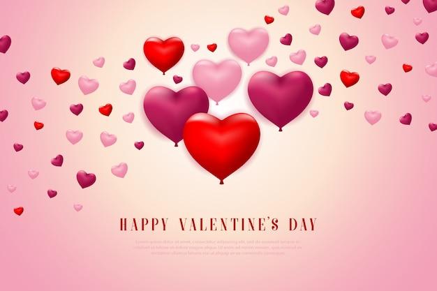 Insegna del fondo di san valentino con il cuore dei palloni di volo