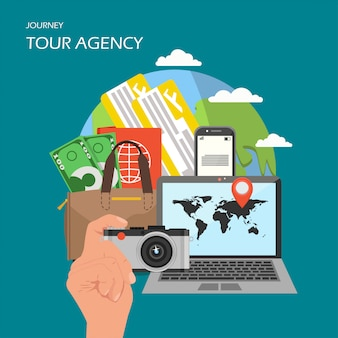 Insegna del manifesto dell'agenzia turistica, illustrazione piana