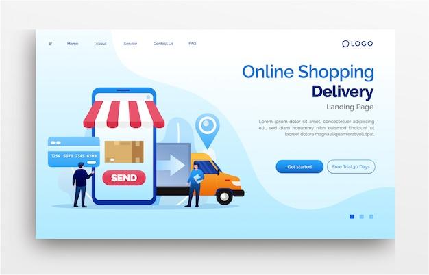Insegna del modello del sito web della pagina di atterraggio di consegna di acquisto online