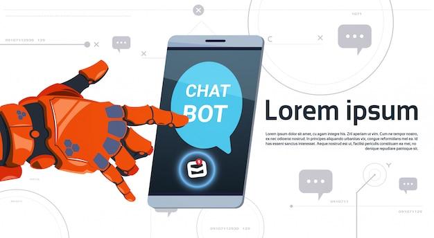 Insegna del modello dello smart phone di tocco della mano del robot di concetto di app di servizio del robot di chiacchierata con lo spazio della copia, concetto di tecnologia di sostegno tecnico di chatterbot