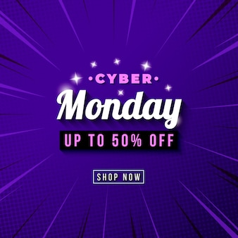Insegna del modello di vendita di lunedì di cyber con il fondo comico dello zoom