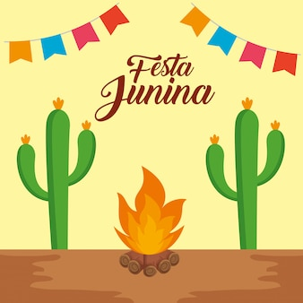 Insegna del partito con la pianta del cactus e il fuoco di legno