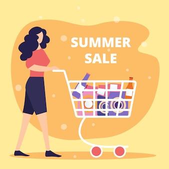 Insegna del quadrato di vendita di estate con la giovane donna che spinge il carrello