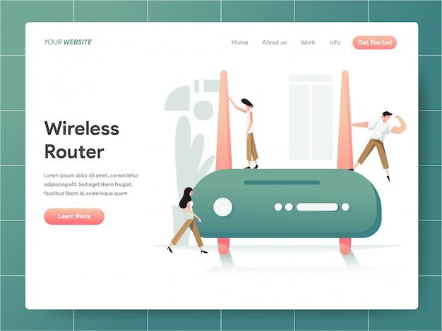 Insegna del router senza fili del concetto della pagina di atterraggio