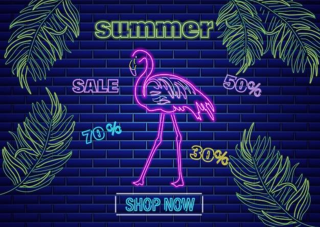 Insegna del tropico di estate del fenicottero al neon