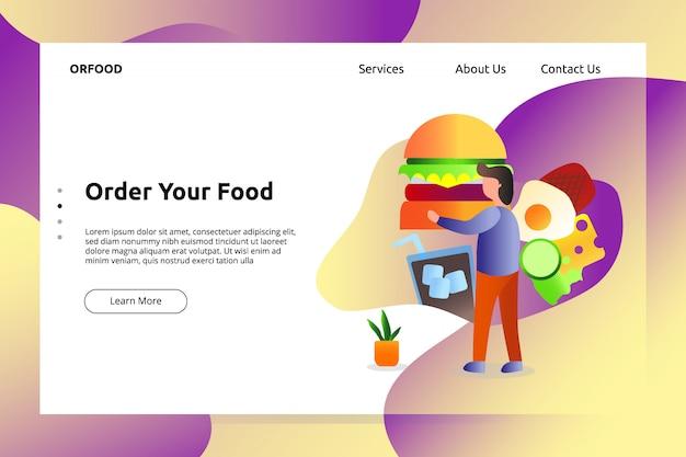 Insegna dell'alimento dell'hamburger del manzo e illustrazione della pagina di atterraggio