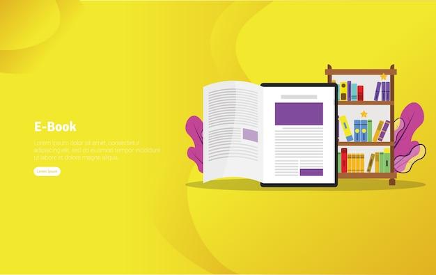 Insegna dell'illustrazione di concetto del libro elettronico