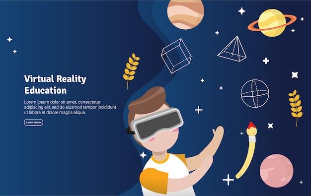 Insegna dell'illustrazione di concetto di istruzione di realtà virtuale