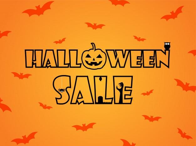 Insegna dell'illustrazione di vettore di vendita di halloween