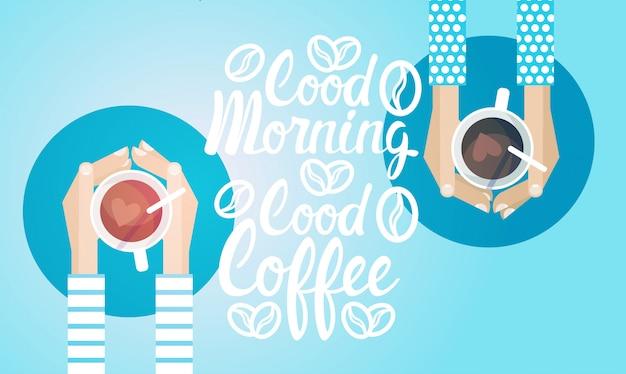 Insegna della bevanda di mattina della rottura del caffè della tazza del tè della tenuta della mano