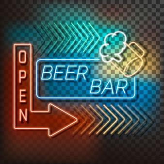Insegna della luce al neon della barra della birra su un fondo trasparente