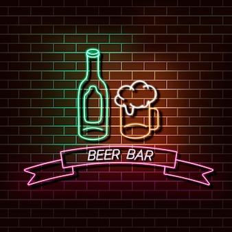 Insegna della luce al neon della barra della birra su un muro di mattoni
