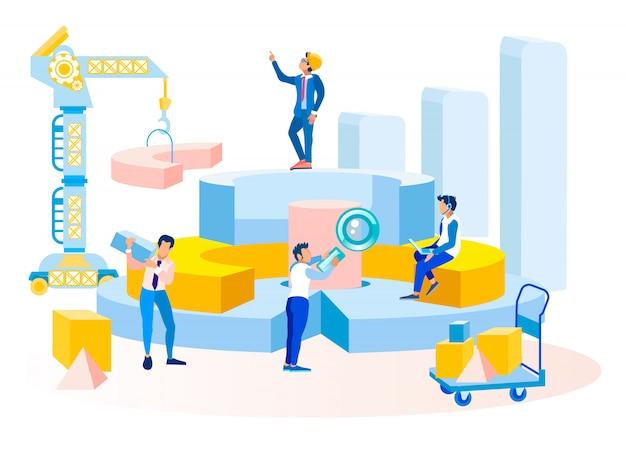 Insegna della metafora di elaborazione dei dati del flusso di lavoro di affari
