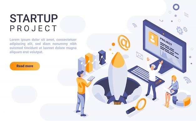 Insegna della pagina di atterraggio del progetto startup con l'illustrazione isometrica