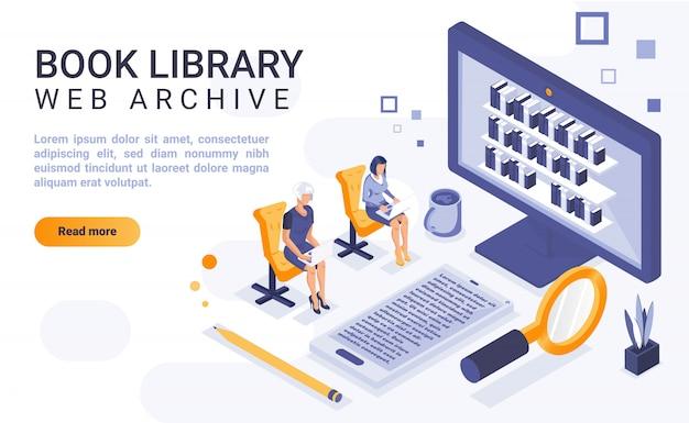 Insegna della pagina di atterraggio della biblioteca del libro con l'illustrazione isometrica
