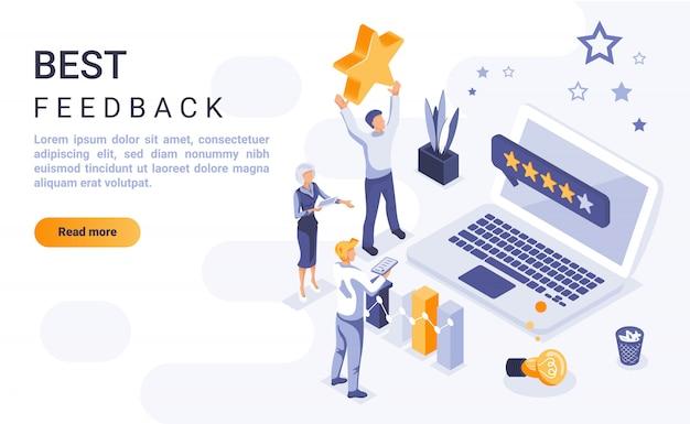 Insegna della pagina di destinazione di miglior feedback con illustrazione isometrica
