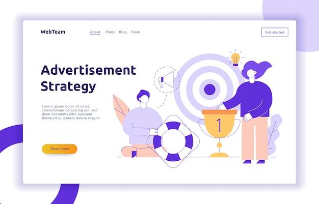 Insegna della pagina web di pubblicità e strategia di marketing vettoriale