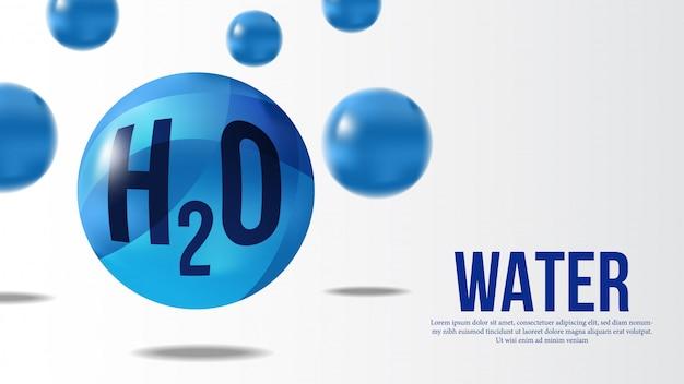 Insegna della sfera 3d della molecola di acqua