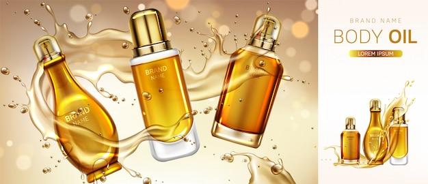 Insegna delle bottiglie del prodotto cosmetico dell'olio per il corpo.