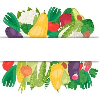 Insegna delle verdure con l'illustrazione dello spazio bianco.