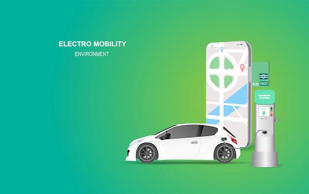 Insegna dello smartphone dell'illustrazione con la stazione di carico dell'automobile elettrica.