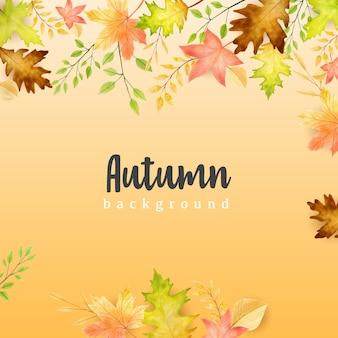Insegna di autunno con il fondo variopinto delle foglie di autunno