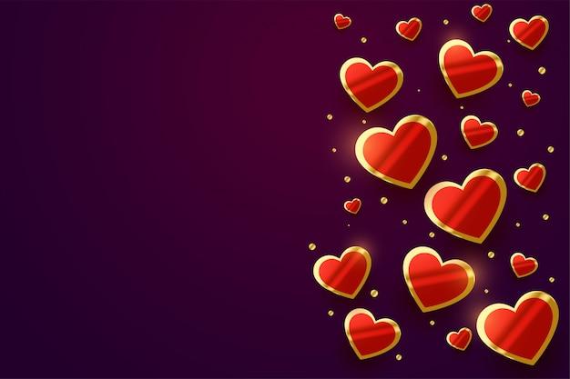 Insegna di bello giorno dorato brillante dei cuori di san valentino
