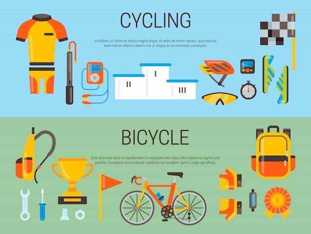 Insegna di bicicletta e accessori sportivi bandiera di vettore. attività in bicicletta, attrezzatura da ciclismo e accessori sportivi.