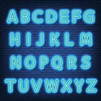Insegna di carattere alfabeto al neon