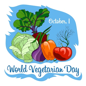 Insegna di celebrazione di giornata vegetariana mondiale con verdure.