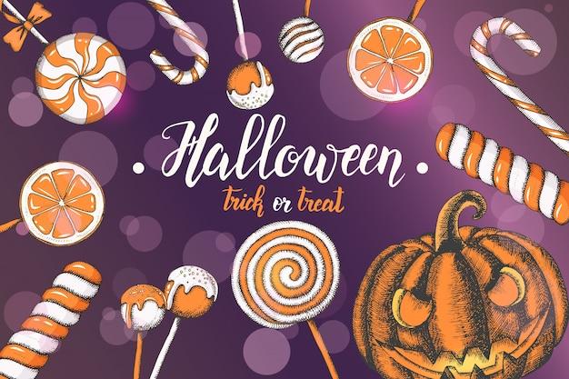 Insegna di celebrazione di halloween con le caramelle colorate disegnate a mano e la zucca di halloween