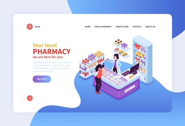 Insegna di concetto con il posto di lavoro del cassiere e del cliente nell'illustrazione isometrica locale della farmacia 3d