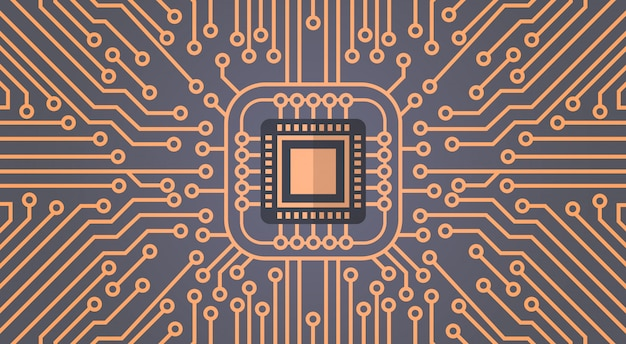 Insegna di concetto del sistema del centro dati della rete di moterboard del chip del computer
