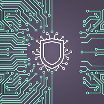 Insegna di concetto del sistema di protezione dei dati della rete dello schermo