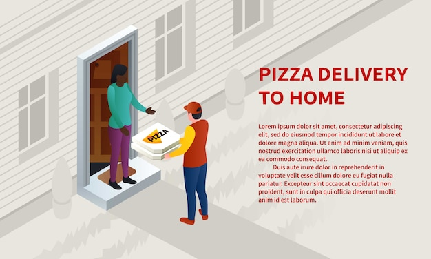 Insegna di concetto di consegna a domicilio della pizza, stile isometrico