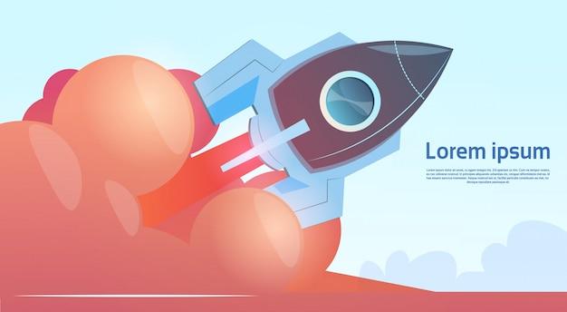 Insegna di concetto startup di affari di rocket di volo con lo spazio della copia