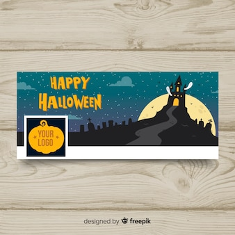 Insegna di facebook con il concetto di halloween