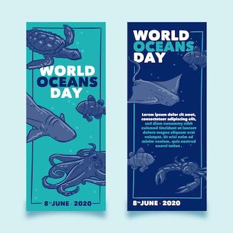 Insegna di giornata mondiale degli oceani disegnata a mano