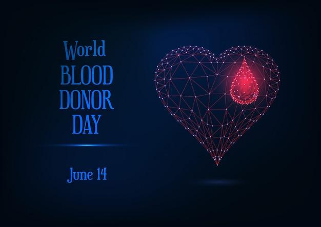 Insegna di giorno di donatore di sangue mondo con incandescente poli basso sangue goccia e cuore simbolo e testo