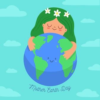 Insegna di giorno di madre terra con la donna che abbraccia il pianeta