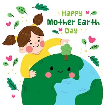 Insegna di giorno di madre terra con la ragazza e il pianeta